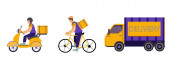 vector icons with delivery men riding bike and scooter near truck with delivery lettering on white