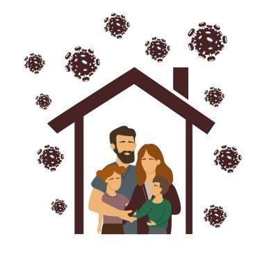 Çatı altında aileleri olan vektör koronavirüs, ev konseptinde kalın