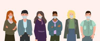 Beyaz, koronavirüs konsepti üzerinde duran tıbbi maskeli ırklar arası insanların vektörü