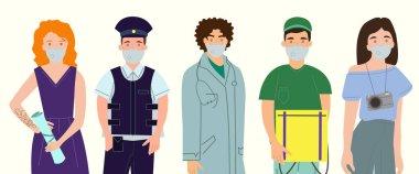 Beyaz, koronavirüs konsepti üzerinde duran tıbbi maskeli profesyonellere sahip vektör