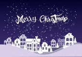 vektor boldog karácsonyi felirattal házak közelében, fenyők és eső hó kék