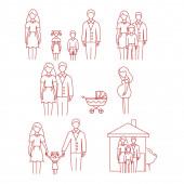 vektor ikonok család, terhes nő és babakocsi fehér háttér