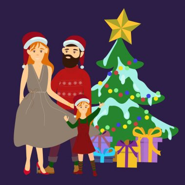 Vector with parents standing with daughter near christmas tree on blue stock vector