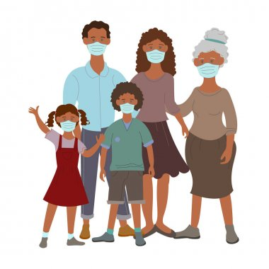 Vector coronavirus icons with african american family in medical masks on white icon