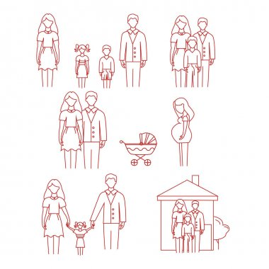 Vector icons with family, pregnant woman and stroller on white background icon