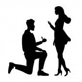 silhouettes of man doing marriage proposal to woman, black and white vector illustration