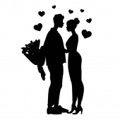 silhouettes of man holding flowers near woman, black and white vector illustration
