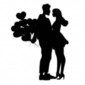 silhouettes of man holding heart shaped balloons near woman, black and white vector illustration