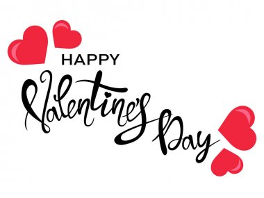 Black happy valentines day lettering with red hearts isolated on white, vector illustration clip art vector