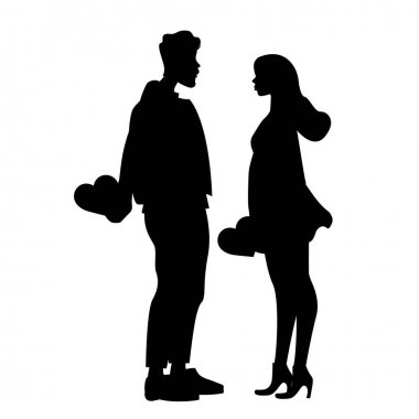 Silhouettes of couple holding hearts isolated on white, vector illustration stock vector