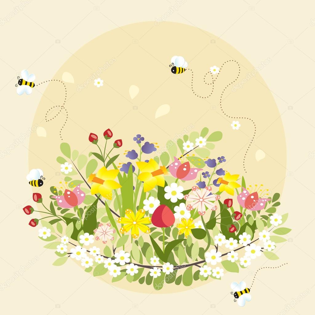 Spring Flowers Lovely Beautiful Bee Cartoon Vector Illustration