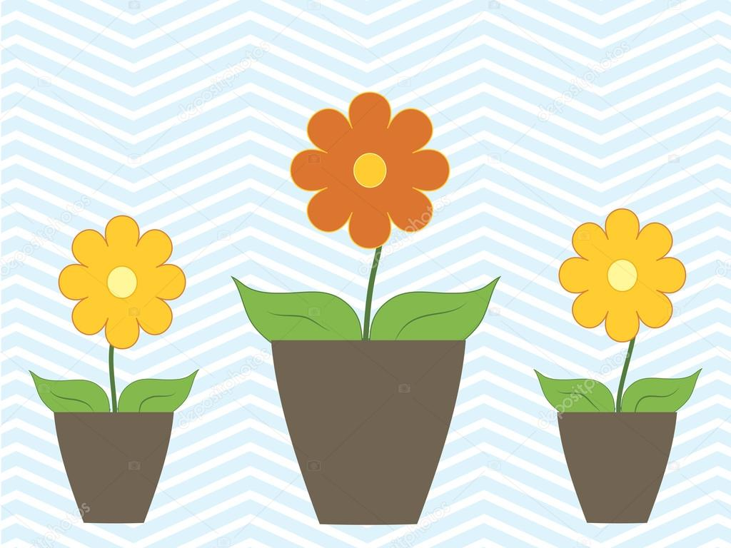 Spring colorful flowers in pots Vector illustration fresh summer
