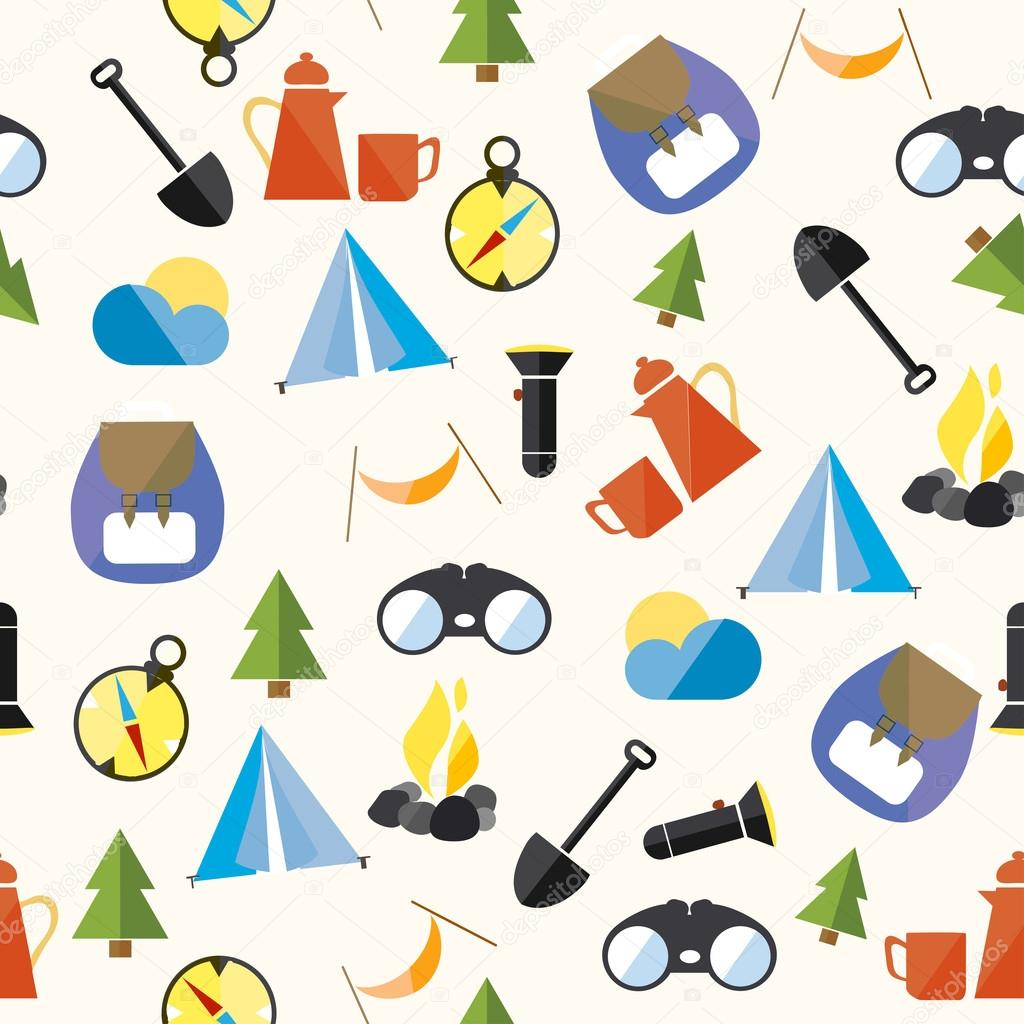 Set Tourism Camp Hike Boho Pattern Seamless Loop Icon Vector Illustration