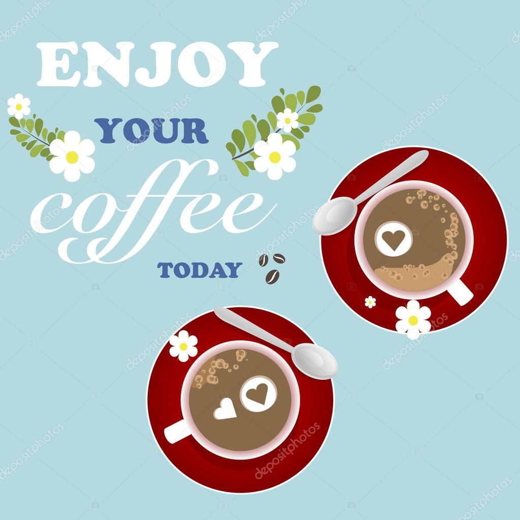 Coffee Background Flower Heart Romantic Grunge Retro Enjoy Vector Illustration
