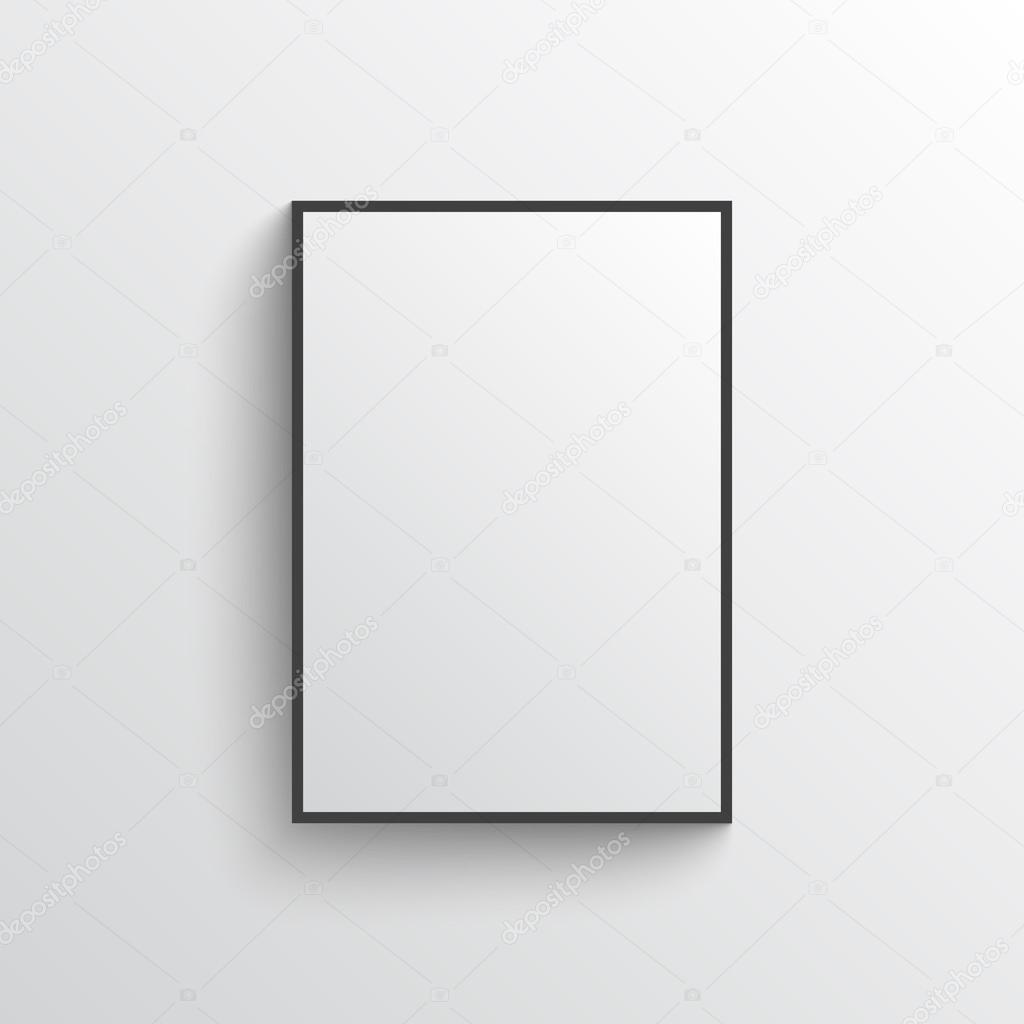 white blank poster with frame mock up on grey wall stock vector