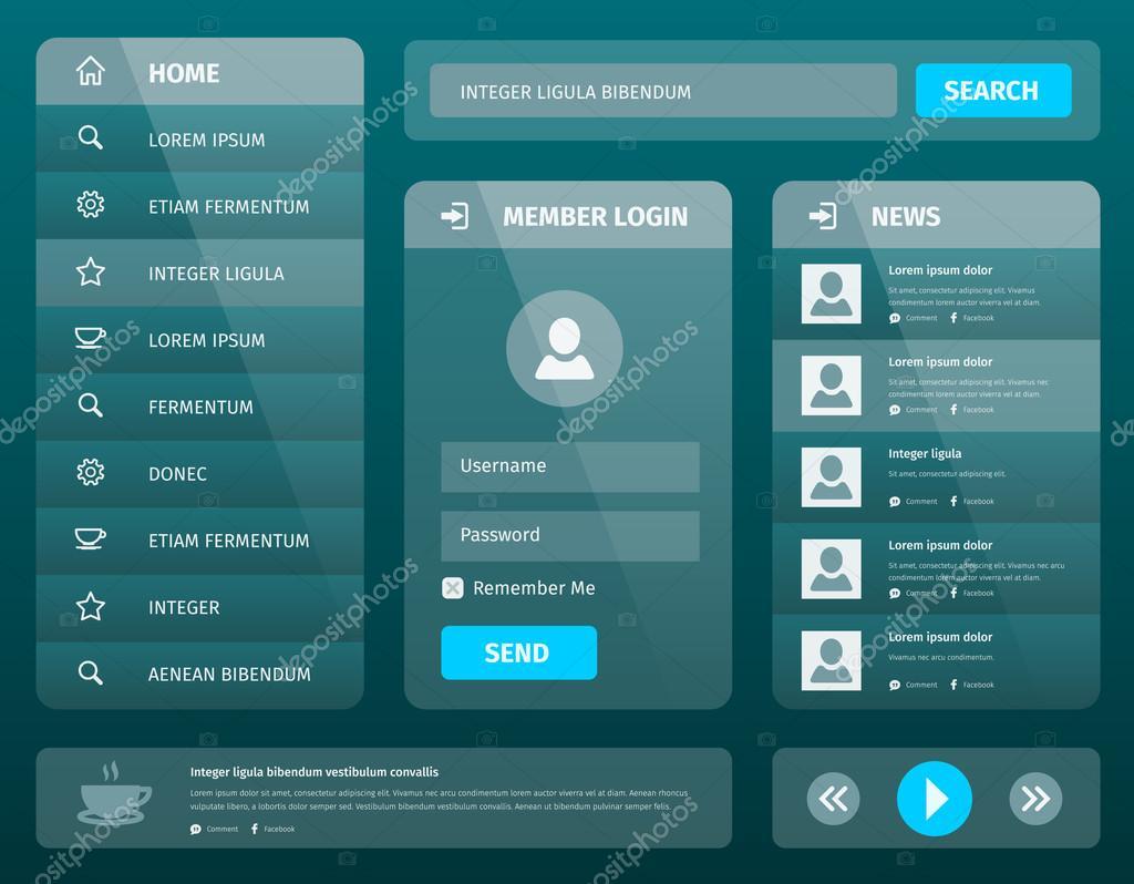 vector mobile design de modelo de interface do usuário com login