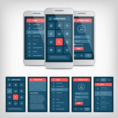 Vector collection of modern flat design. Conception of mobile user interface. EPS10 illustration. Mobile app ui kit stock vector