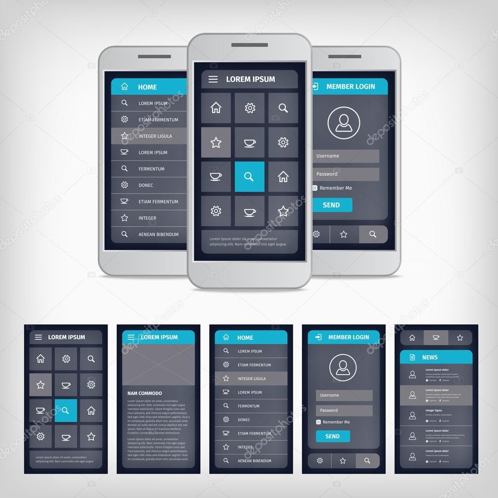 vector blue mobile user interface