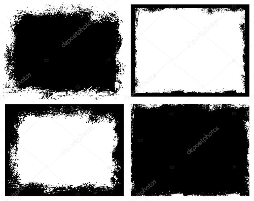 Set of grunge background. Broken dirty rough frames. — Stock Vector ...