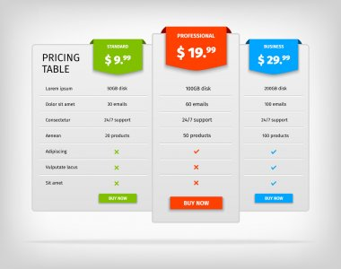 Pricing table template comparison chart for business