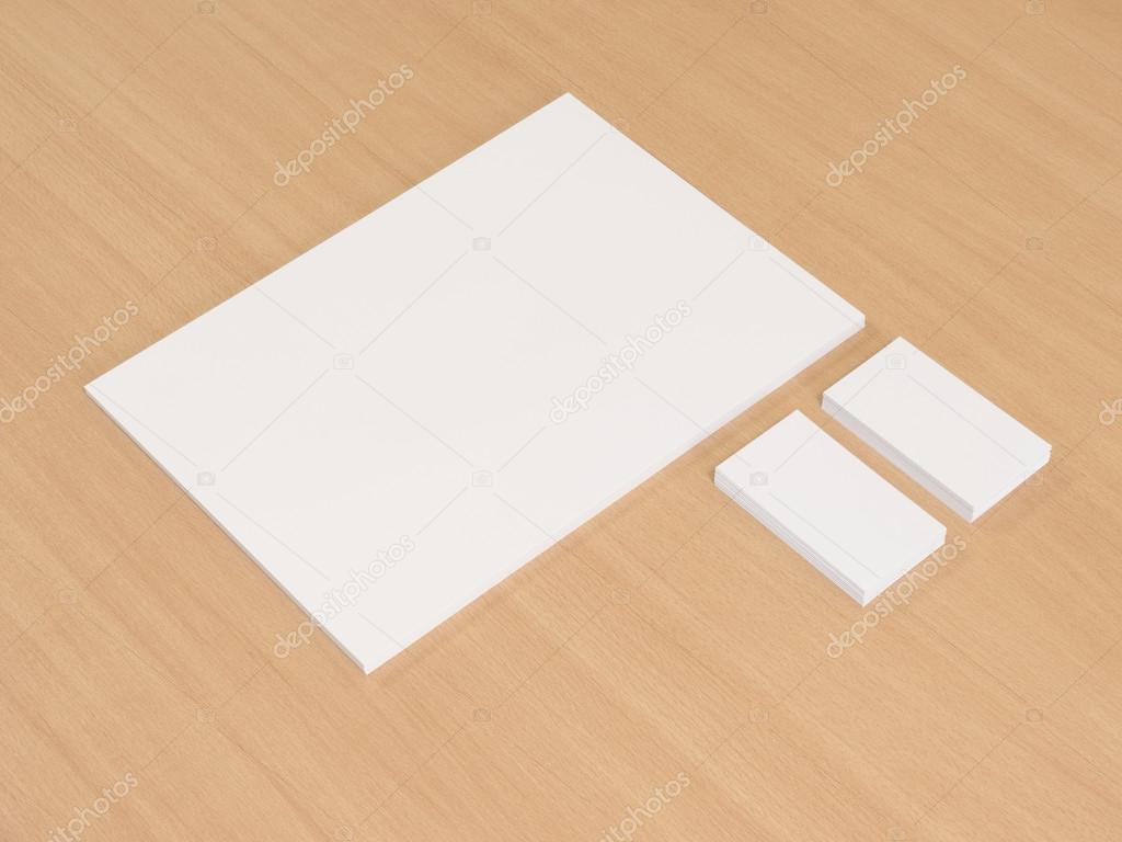 Business cards blank mockup with a pile of documents — Stock Photo ...