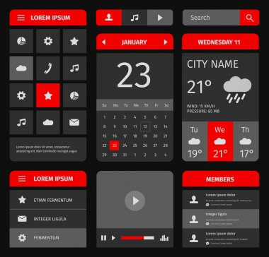 Red and blue set of mobile interface elements.