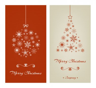 Marry Christmas cards with ball and tree from snowflakes.
