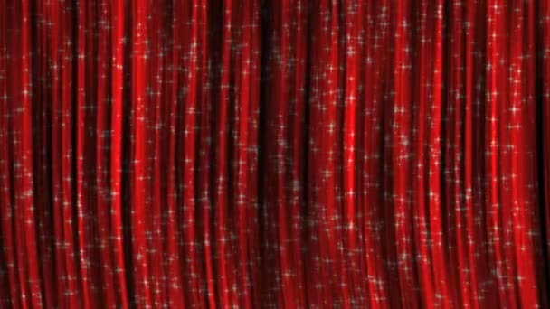 Red Curtains with Particles Background.