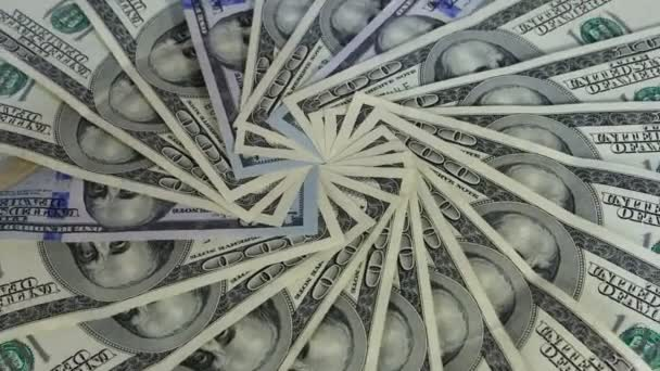 Background with 100 US dollar bills rotate.
