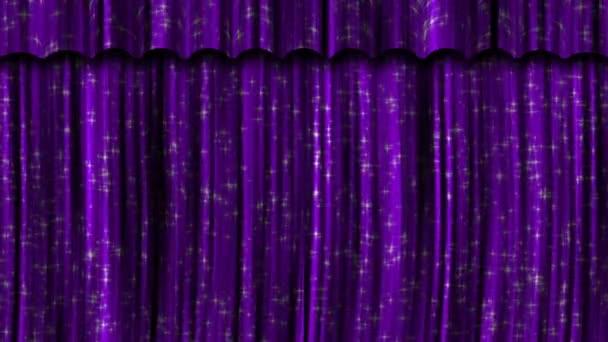paarse gordijnen open en dicht met groen scherm plus alfa luma matte stockvideo