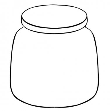 White background, glass jar contour. Vector illustration icon