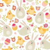 Fotografie rabbits, chickens and eggs pattern