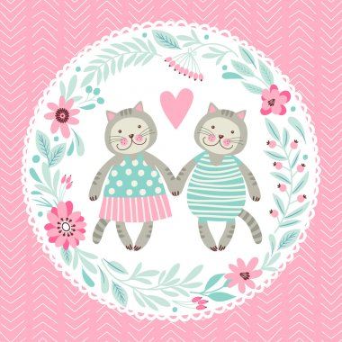 Template greeting card with kittens