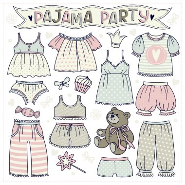 Set of illustrations with pajamas and underwear.
