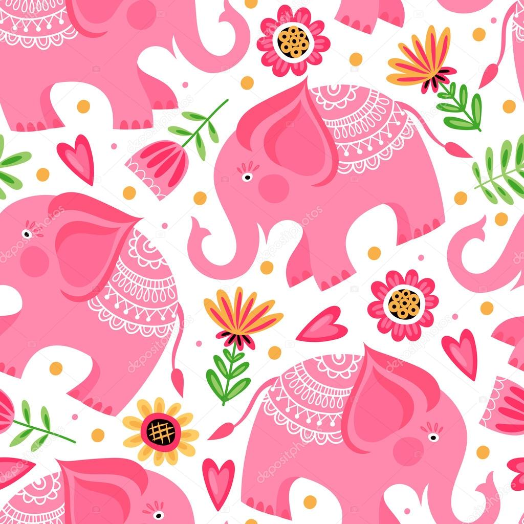 Pattern with flowers and pink elephants stock vector xeniaok pattern with flowers and pink elephants stock vector mightylinksfo