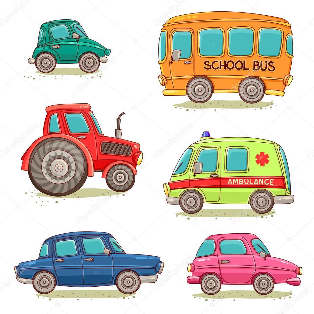 conjunto de carros de desenhos animados vetores de stock