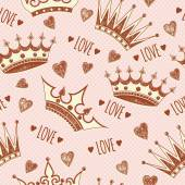 Fotografie Pattern with crowns and hearts.