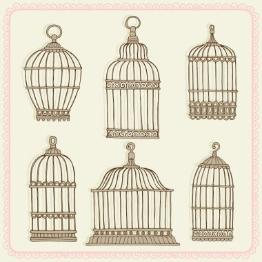 Set with vintage bird cages.
