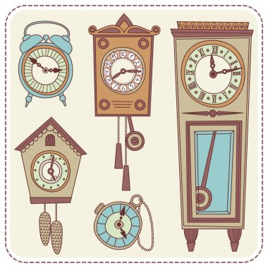 Illustration of old clocks
