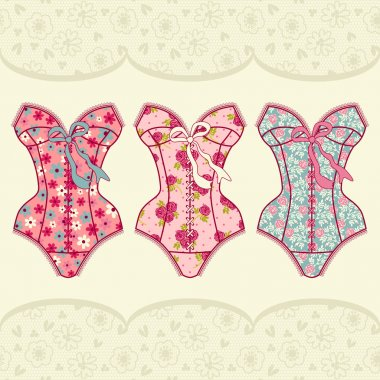 Set with vintage corsets