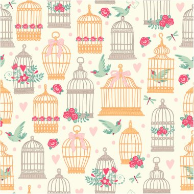 Pattern with birdcages and birds.