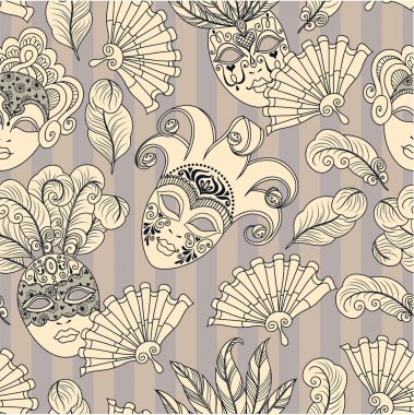 Pattern with carnival masks.