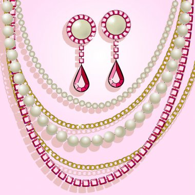 Necklace, pearls and earrings
