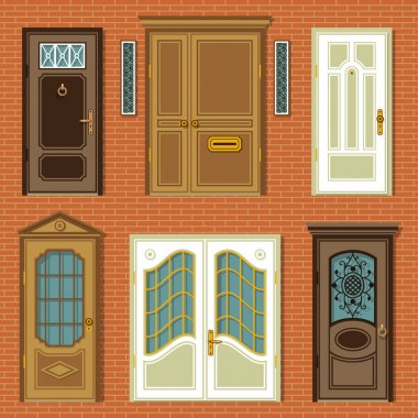 Illustrations with vintage doors