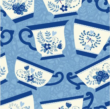 Seamless pattern with a teacups