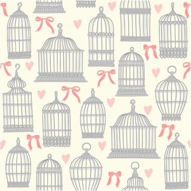 Seamless pattern with bird cages.