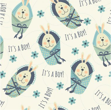 Seamless pattern with bunnies