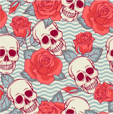 Pattern with skulls and roses.