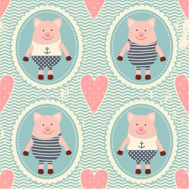 Pattern with hearts and pigs.