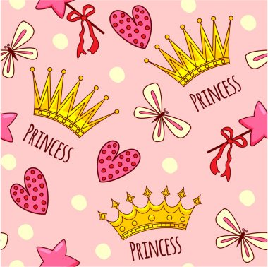 Seamless pattern with crowns